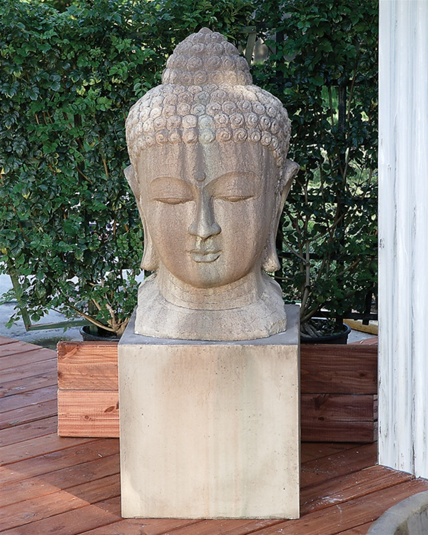 Large Buddha Head Fountain: Ceramic Buddha Head